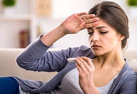 un examen avec de la fièvre